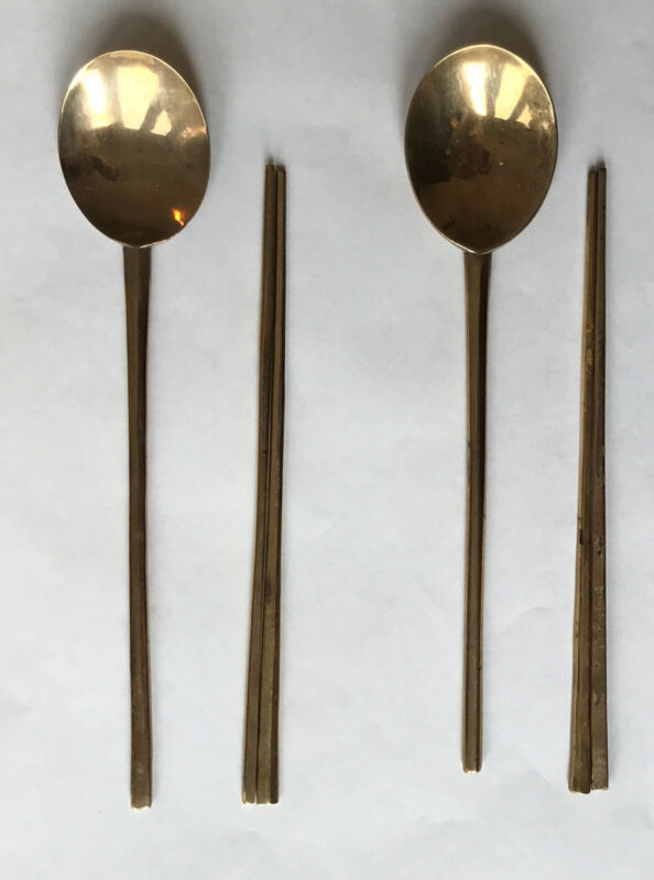 Two Sets of Vintage Antique Korean Handmade Brass Chopsticks and Spoons