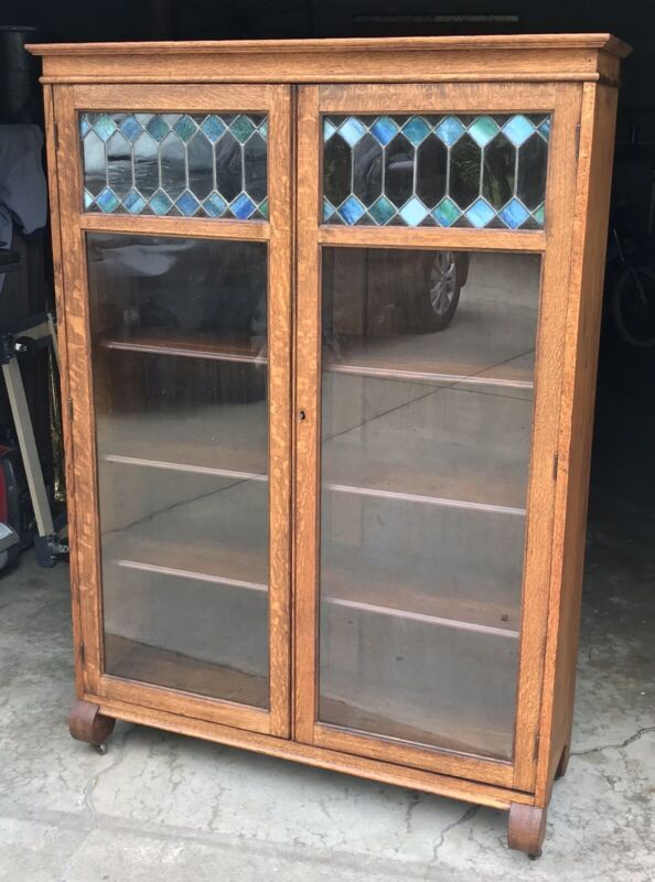 Antique Larkin Arts & Crafts Quartersawn Oak Blue & Green Stained Glass Bookcase