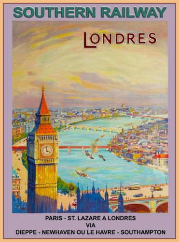 Southern Railway London England Paris Vintage Travel Advertisement Art Poster