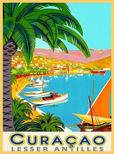 Curacao Lesser Antilles Dutch Caribbean Island Port Vintage Travel Poster Print
