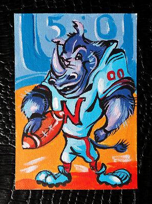 "Original art by Bastet ""Baseball Player Rhinoceros"" OOAK hand painted ACEO"