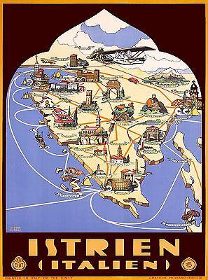 Istrien Istria Peninsula Italy Croatia Vintage Travel Advertisement Poster Print