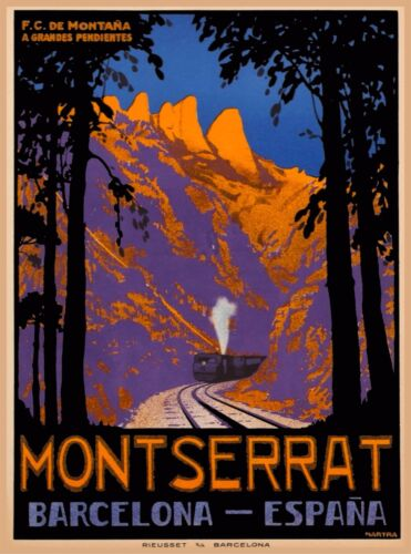Montserrat Barcelona Spain Espana Vintage Spanish Travel Advertisement Poster