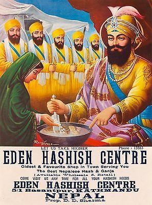 Kathmandu Nepal Hashish Centre Southeast Asia Vintage Travel Poster Print