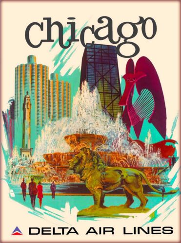 Chicago Illinois Delta Air Lines United States Travel Advertisement Poster Print