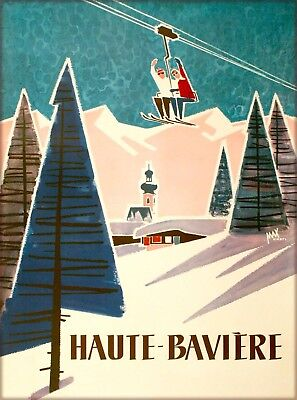 Haute-Baviere Bavaria Snow Ski Germany Vintage Travel Advertisement Poster