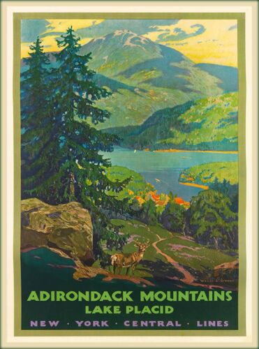 Adirondack Mountains Lake Placid New York U.S. Travel Advertisement Poster