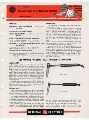 "1951 GE Ad Sales Sheet: ""Type WGS Series - Manual Inert-Arc Electrode Holders"""