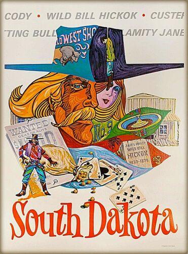 South Dakota Famous Cowboys Vintage United States Travel Decor Art  Poster Print