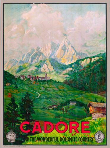 Cadore Venetia Italy Italian Dolomite Veneto Vintage Travel Advertisement Poster