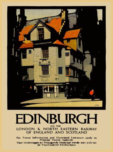 Edinburgh England Scotland Great Britain Vintage Travel Advertisement Poster