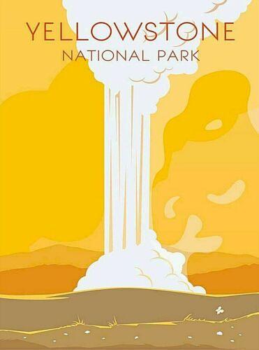 Yellowstone National Park Old Faithful Wyoming Retro Travel Art Poster Print