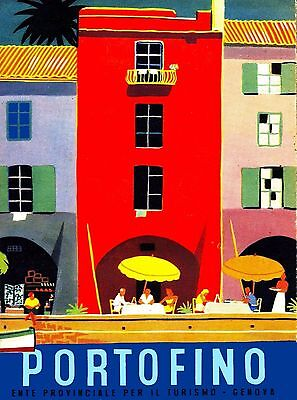 Portofino Genoa Italy Vintage Italian Travel Advertisement Art Poster Print