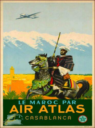 Le Maroc Par Air Atlas Casablanca Morocco Africa Vintage Travel Art Poster