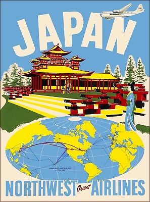 Japan Northwest Orient Airlines Vintage Japanese Travel Advertisement Poster