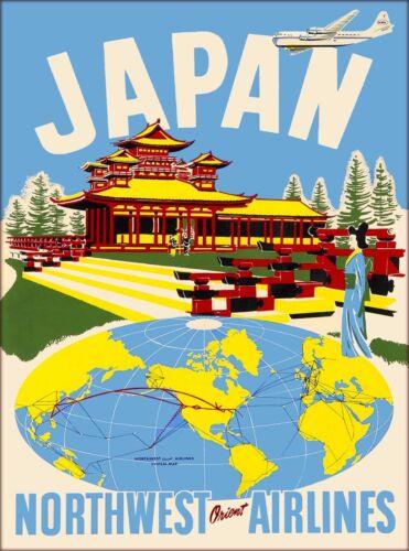 Japan Northwest Orient Airlines Vintage Japanese Travel Advertisement Poster