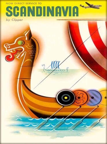 Viking Ship  Scandinavia Scandinavian Europe Travel Poster Art Advertisement