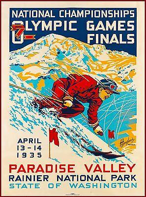 Paradise Valley Ski Olympics Washington Vintage U.S. Travel Advertisement Poster