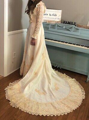 "Vintage Wedding ""Gown Of Century""Ivory & Ecru W Veil  26 W 34 Bust Size 6 Pearls"