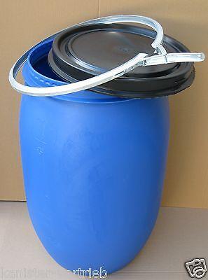 Futtertonne Wassertonne Regentonne Maischefass Weithalsfass Fass 120 Liter blau