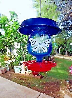 Bird feeder, Seed, Thistle, Glass, Crown Royal, Blue, 32 oz, Large, Made in USA