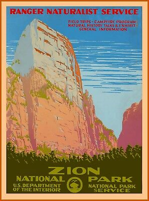 1938 Zion Utah National Park Vintage United States Travel Advertisement Poster