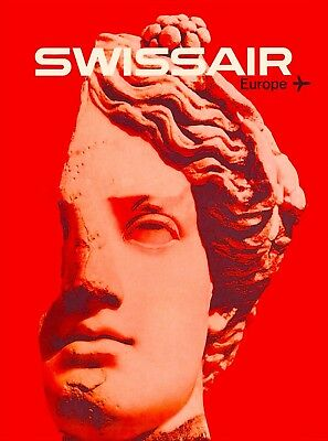 Swissair to Europe Statue Vintage Travel Advertisement Art Poster Print