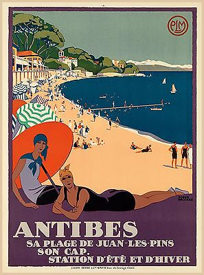 Antibes French Riviera Station France Vintage Travel Advertisement Poster Print
