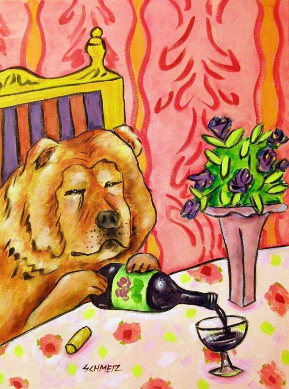 chow chow  at the wine bar dog art Set of Notecards envelopes