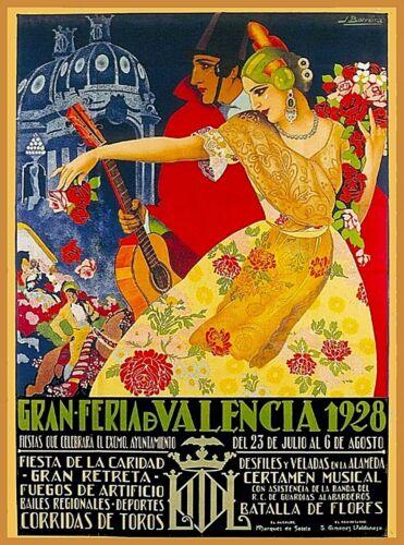 1928 Gran Feria d Valencia Spain Vintage Travel Advertisement Art Poster Print