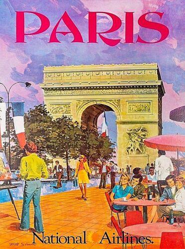 Paris France National Airlines Vintage Travel Advertisement Art Poster Print