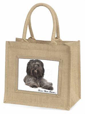 Tibetan Terrier 'Love You Mum' Large Natural Jute Shopping Bag Chr, AD-TT2lymBLN