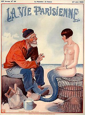1925 La Vie Parisienne Fisherman and Mermaid France Travel Advertisement Poster for sale  La Verne