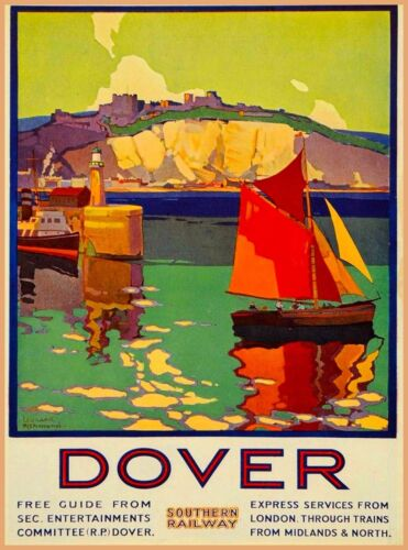 Dover Kent England Great Britain Vintage English Travel Advertisement Poster