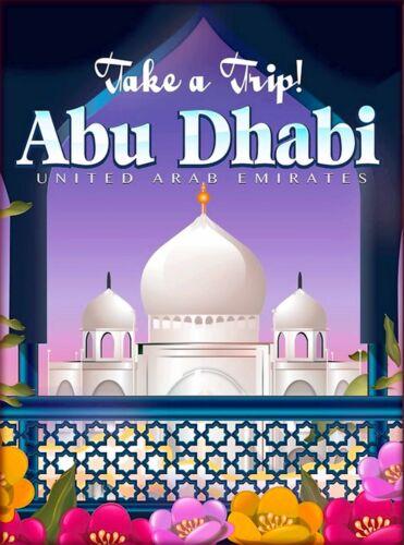Abu Dhabi United Arab Emirates Arabian Travel Advertisement Art Poster Print