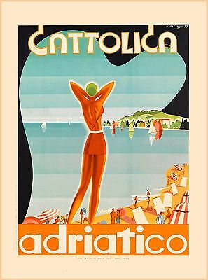 Cattolica Adriatico Italy Beach Vintage Europe Travel Advertisement Art Poster
