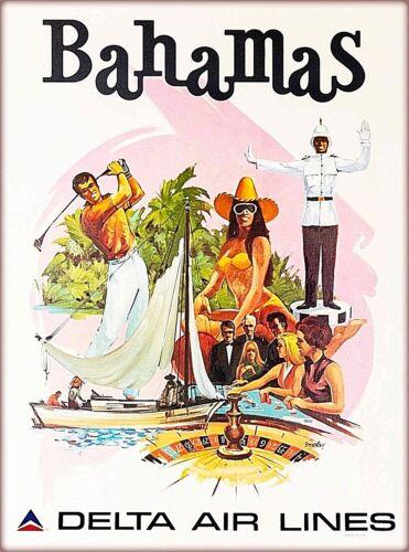 Bahamas Caribbean Delta Air Lines Vintage Travel Advertisement Art Poster