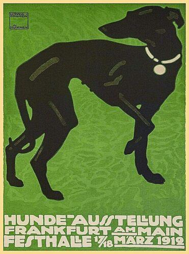 1912 Frankfurt Dog Show Greyhound Germany Vintage Advertisement Art Poster Print