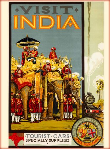 Visit India Tourist Cars Supplied Vintage Asia Travel Advertisement Poster