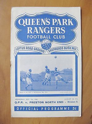 QUEENS PARK RANGERS QPR v PRESTON NORTH END 1949/1950 *Exc Condition Programme*