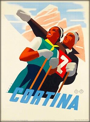 Cortina Ski Skiing Vintage Italy Travel Collectible Wall Decor Art Poster Print