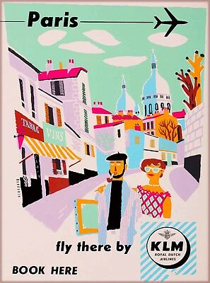 Paris Fly there by KLM France Vintage Airline Travel Advertisement Poster