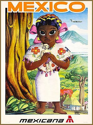 Mexico Mexicana Mexican Little Girl Vintage Travel Advertisement Art Poster