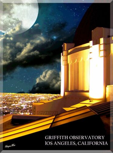 Griffith Observatory Los Angeles California Travel Ad Art Poster Print