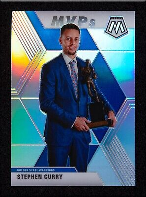 Stephen Curry SILVER Prizm Refractor 2019-20 Panini MOSAIC • Mint • MVP Warriors