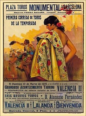 Plaza Toros Monumental Barcelona Spain Vintage Travel Advertisement Poster Print