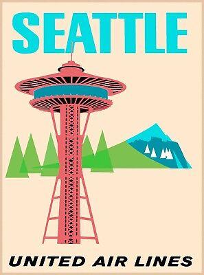 Seattle Washington Space Needle Vintage Airline Travel Advertisement Poster