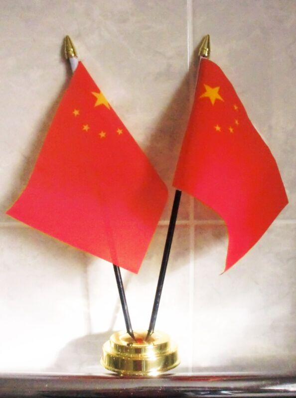 CHINA X2 TABLE FLAG SET 2 flags plus GOLDEN BASE CHINESE