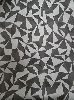Slightly Imperfect 3D Geometric Wallpaper Black Silver Metallic Paste Wall Vinyl