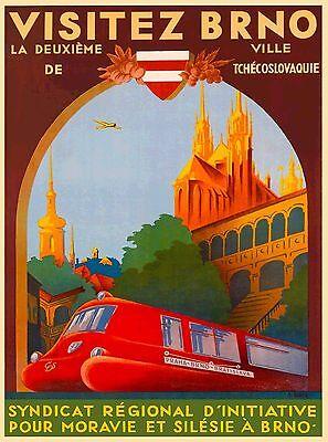 Brno Czech Republic Europe Praha Prague Advertisement Travel Art Poster